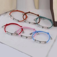Europe America Fashion Style Men Lady Women Colored Nylon Rope Pull-out Inclusion Bracelet With Enamel V Initials Resin Charm M69455 8 Color
