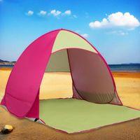 Quick Open Beach Tent Anti UV Кемпинг Пешие прогулки Туризм Твез Укрытие Укрытие Наружная защита Рыбалка Cabana Sun Tents и Укрытия