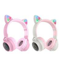Bluetooth chat oreille au-tête casque d'oreille oreillettes mignonnes filles sans fil HD casque sans fil annulant BT 5.0 casque avec lumière LED pour les téléphones portables pour ordinateur portable