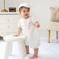 Pasgeboren doopjurk 0-24M jongens kleding set ronde hals korte mouw effen button kleding baby outfits witte hoed