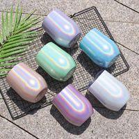 Crianças e adultos Moda Cor Flash Egg Ovo De Café Copos de Café Aço Inoxidável Arco-íris De Vidro Conveniente e Prático Grande Capacidade
