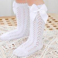 Çorap Bebek Hole Out Mesh Netbale Çocuk Çoraplar Bowknet Kız Diz Yüksek Prenses Çorap Çocuklar Bebek