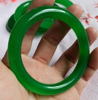 56-60mm natural round spinach green handmade jade bracelet free deli very