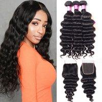 Alinybeauty Brazilian Malaysian Peruvian Virgin Hair Weaves 3 Bundles with Lace Closure Loose Deep Wave 10A Indian Cambodian Remy Human Hair