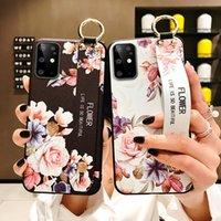 Cep Telefonu Torbalar Galaxy Note 20 Ultra Çiçek Durumda Sanat Yaprak Bilek Kayışı Tutucu Kapak Samsung S21 S20 A21S FE 5G Artı Capa