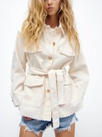 Women's Jackets HWLZLTZHT Loose Belted Corduroy Jacket 2021 Long Sleeve Frayed Hem Vintage Overshirt Woman Chic Button Up Autumn Casual