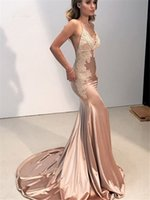 Sexy Mermaid Lace Evening Dresses Long Prom Gown Spaghetti Straps Backless Sweep Train Shiny Satin Evening Party Dress for Women