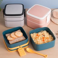 Taşınabilir 2 Katmanlı Sağlıklı Öğle Yemeği Bento Kutusu 1100 ml Konteyner Mikrodalga Fırın Kutuları ile Çatal Lunchbox Japon Tarzı Yemek Takımları