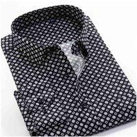 Grande tamanho 8xl 9xl 10xl vrokino marca vintage impressão floral mangas compridas homens negócio vestido casual moda camisa clássica 210323