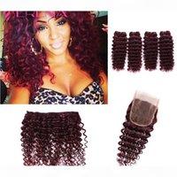 Глубокая волна Бразильские волосы с фронтальными волосами человека 4 пучка с закрытием девственницы Пакет для волос с закрытием вязания крючком 99J связки