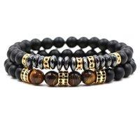 2pcs / Set Marque Nouveau Pave de mode Cz Hommes Bracelet 8mm Perles mates avec perle d'hématite Bracelet bricolage bricolage pour hommes bijoux 104 R2