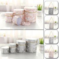 Gift Wrap Round Kraft Paper Flower Box With Handheld Handy Bucket Rose Florist Wedding Party Packing Cardboard Packaging Bag