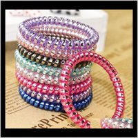 Aessories & Tools Productswomen Colorful Hairband Girl Candy Color Headband Telephone Cord Elastic Ponytail Holders Hair Ring Diameter 5Cm D