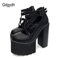 Gdgydh Fashion Women Pumps High Heels Zipper Rubber Sole Black Platform Shoes Spring Autumn Leather Female Promotion 210910