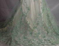 5YARDS African Sequins Filet Tissu Vert / Gold Tissu de dentelle en dentelle de haute qualité de haute qualité pour la robe de soirée nigériane