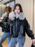 Fashion All-match Leather Jacket Women's Winter Plus Velvet Warmth Trend Fur Collar Detachable Jackets