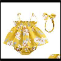 Sets Clothing Baby, Kids & Maternitysummer Baby Girl Outfits Set Flower Printed Sleeveless Top T-Shirt+Shorts+Headband 3 Pcs Infant Clothes D