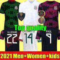 Homens adultos Mulheres Kit Kit 2021 México Futebol Jerseys Concacaf Gold Cup Camisetas 21 22 Chicharito Lozano dos Santos 2022 Camisa de Futebol de Guarda
