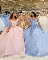 2021 Pink Light Blue Quinceanera Dresses Ball Gown Sequined Lace Off Shoulder Crystal Beads Flowers Short Sleeves Sweet 16 Party Prom Evening Gowns