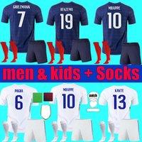 2021 2022 Uomini Bambini Griezmann Mbappe Soccer Jerseys Francia Benzema Kit per bambini Pogba Thauvin Camicie da calcio 20 21 Pavard Kante Adulto Ragazzi adulti Set full calks uniforme
