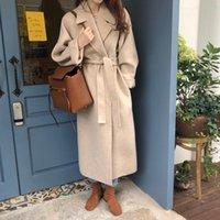 FTLZZ New Spring Women Elegant Turn-down Collar Woolen Long Coat Vintage Solid Warm Outwear Empire Slim Coat with Belt