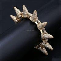 Link, Bracelets Jewelry 18K Gold Plated Cz Zirconia Hip Hop Big Stud Link Chain Bracelet 28Mm Miami Cuban Rock Rapper Jewelry Copper Wristba