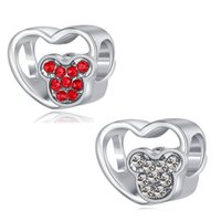 Fits Pandora Bracelets 20pcs Cartoon Hollow Heart Crystal Silver Charms Bead Charm Beads Pendant For Wholesale Diy European Sterling Necklace Jewelry