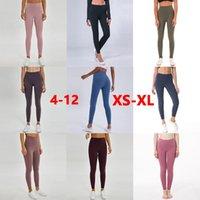 L-32 اليوغا السراويل بلون اليوغا تتسابق النساء عالية الخصر الرياضة رياضة ارتداء طماق مرونة اللياقة سيدة الشاملة الجوارب الكامل تجريب حجم xs-xl