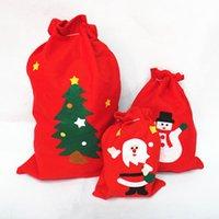Sacs-cadeaux de Noël rouges Grand sac de bonbons Sac de cordon de cordon de cordon de cuisson de neige non tissé Sans sacs Santa Claus sacs pour enfants Pochette cadeau DBC VT1155