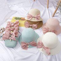 Ins Girl Weaving Borse Match Cappello Plaid Bow Bow Borsa Gioventù Beach Casual Messenger Bag 2272 V2