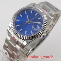 Armbanduhren BLIlstoff 36mm blau steril Nein Logo Automtic Herren Watch Sapphire Gla LumiMnous Marks gerichtete Lünette BEZEL AOYSTER Armband