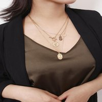 Pendant Necklaces Vintage Gold Color Portrait Coin Virgin Mary Necklace For Women Circle Choker Multilayer Statement Face Collier
