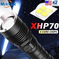 드롭 LED P50 / P70 줌 손잡이 손전등 18650/26650 실내 / 야외 사용 토치 용 배터리 알림