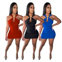 Red / Black / Blue Женская Круглая Пряжка Оболочка Платье Сексуальное С Off Независимое Независимое Мини Платье Элегантные Плиссированные Вестидосы