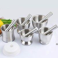 Aglio Grinder Pratico Mortaio in acciaio inox e pestello Cucina Aglio Aglio Erba Mills Grinder Bowl Cooking Tool HWB10476