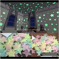 Décor & Garden100Pcs 3D Stars Glow In The Dark Wall Stickers Luminous Fluorescent For Kids Baby Room Bedroom Ceiling Home Decor Drop Delivery
