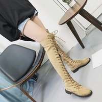Boots Autumn Winter Over The Knee Heels Women Low Quality Long Comfortable Square Elastic Fabric Thigh High Fashion