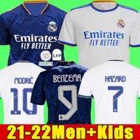 Jerseys 21 22 Camisas de fútbol de fútbol de Madrid Real Alaba Hazard Benzema Asensio Modric Marcelo Camiseta Hombres + Kit Kids 2021 2022