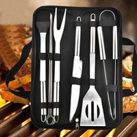 9pcs Set Stainless Steel BBQ Tools Outdoor Barbecue Grill Utensils With Oxford Bags Stainless Steel Grill Clip Brush Knife Kit FWD7695