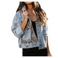 Kurzer Denimjacken für Frauen Leopard Print Patchwork Mantel Weibliche Vintage Casual Damen Jeanjacke Bomber Plus Größe XL Frauen