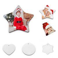 US Stock Sublimation Blank Ceramic Pendant Creative Christmas Ornaments Heat Transfer Printing DIY Ceramic Ornament 6 Styles