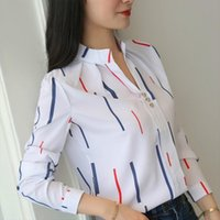 Spring Summer Loose Tripes Women Shirt Long Sleeve White Chiffon Stand Collar V Neck Tops Amp Blouses Plus Size