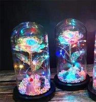 2020 LED Enchanted Galaxy Rose Eternal 24K Золотая фольга Цветок с Fairy String Lights в купол для Рождества День святого Валентина подарок 204 V2