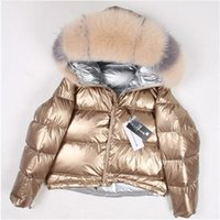 Women's Fur & Faux 2021 Thick Warm Down Parka Women Natural Collar Coat Loose Short White Duck Real
