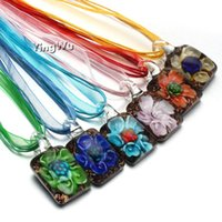 Pendentif Colliers Yingwu 12pcs Bijoux Verre Fleur Carré Murano Lampwork avec corde de soie, verre