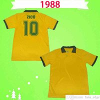 1988 Brasil Retro Soccer Jerseys خمر # 10 Zico Home Yellow 88 Müller Renato Gaúcho Raí Valdo الكلاسيكية Brasil كرة القدم قميص أعلى الزي الرسمي