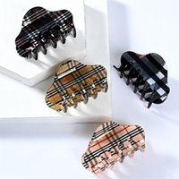 Europejskie Styl Clamps Biżuteria Vintage Lamparta Drukowanie Siatki Wzór Klipy Dla Kobiet Pazur Wysokiej Jakości Duże Geometryczne Hairclips Ladies Fryzurki Do Włosów Akcesoria