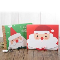 Fashion Christmas Decoration Santa Claus Design Brown Paper Gift Party Red And Green Gift Box Wholesale