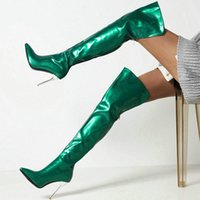 Boots 2021 Women Over The Knee Sexy Thin High Heel Pointed Toe Ladies Thigh Patent PU Leather Leopard Zipper Women's