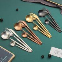 Silver Gold Copper Black Stainless Steel Cutlery Flatware Silverware 4 Piece Knife Spoon Fork Tableware Set